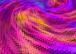 Abstract colorful topography cubes background. Randomly leveled boxes array 3d rendering.