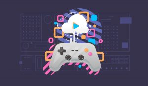 Cloud gaming concept. Gamepad connected to the cloud. Flat style.